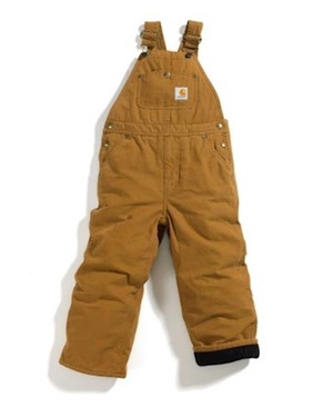 Carhartt Little Boy's Lined Washed Duck Bib-Brown