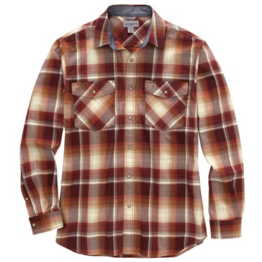 Carhartt Men's Long Sleeve Snap Front Plaid Shirt B&T