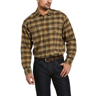 Ariat Rebar Flannel Durastretch Work Shirt Olv