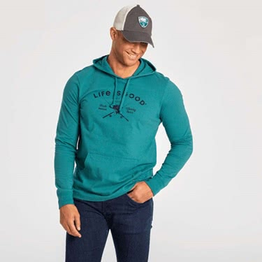 Life is Good Men's Fish More L/S Hooded Crusher Tee