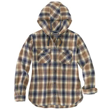W'S Relaxed Fit Hooded Flannel Shirt