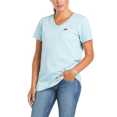 Ariat Women's Rebar Cotton Strong Retro Flag V-Neck
